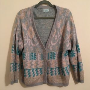 VINTAGE BENETTON mohair cardigan with flowers